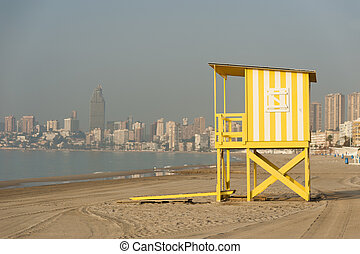 Beach hut used for lifeguards at Benidorm beach