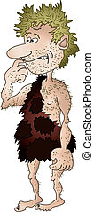 Prehistoric man, isolated - Shaggy and unshaven prehistoric...