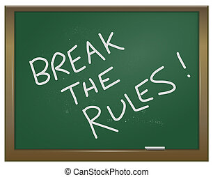 Break the rules - Illustration depicting a green chalk board...