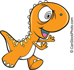 Crazy Orange Dinosaur Animal Vector