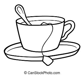 Tea Cup - Black and White Cartoon illustration, Vector