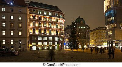 Vienna in night. Austria - Old street of Vienna in night....