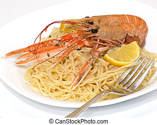 pasta with shrimps on the plate