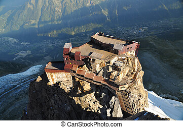 Aiguille du Midi cable car station - Looking down on...