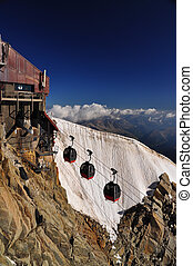 Aiguille du Midi cable car station on italian side
