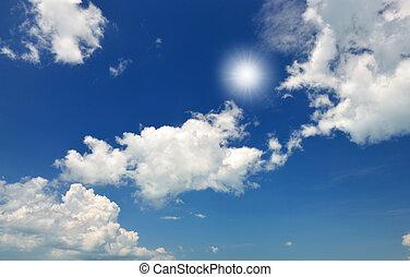 blue sky - dark blue sky with white form clound.