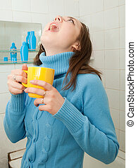 girl gargling throat - Illness girl gargling throat in her...