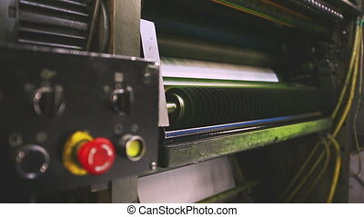 print shop press machine detail and red button