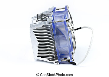 Processor Cooler - Detail of processor (CPU) cooler on white...