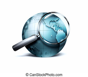 search - magnifying glass with blurred blue world