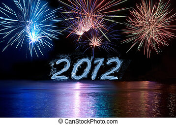 Happy new 2012 year Postcard with colorful fireworks under...