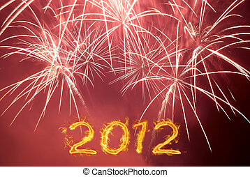 Happy new 2012 year Postcard with red fireworks