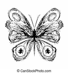 Abstract butterfly. Grunge splash draw paint