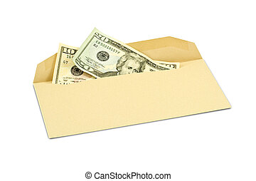 corruption concept Dollar banknotes in envelope on white