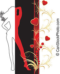 Female silhouette and hearts with ornament Vector...