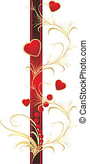 Hearts, beads and ornament. Vector illustration
