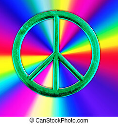 peace sign - A green peace sign with rainbow colors
