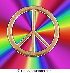 peace sign - A brassy peace sign with rainbow colors