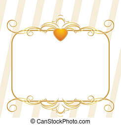 Gold heart with ornament. Frame