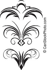 Fragment of gothic ornament Three patterns Vector...