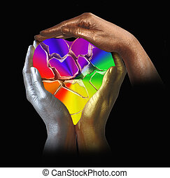 Three hands in bronze colors with a colorful broken heart