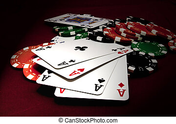 quads aces on casino table