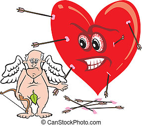 cupid - old fart - the old asshole and arrow on target