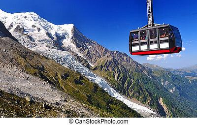 Aiguille du Midi cable car in Chamonix - Aiguille du Midi...