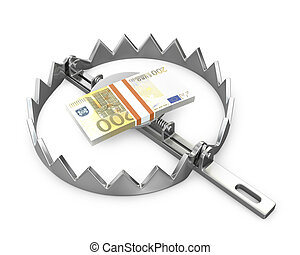 Bundle of 200 euro in a bear trap, isolated on white background