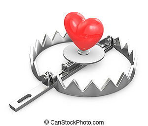 Red heart in a bear trap
