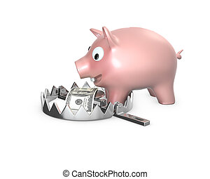 Piggy bank in a bear trap