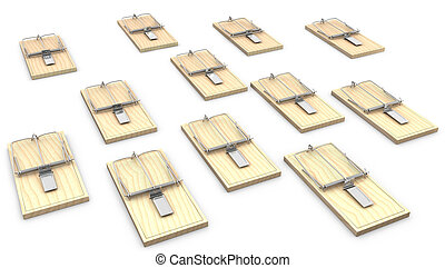 A lot of mouse traps isolated on white background