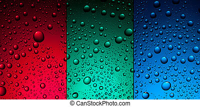 water drops on red, green and blue backgrounds