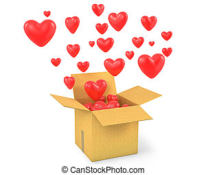 Carton box with a lot of flying out hearts, isolated on...