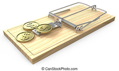 Few golden coins on a mouse trap, isolated on white...