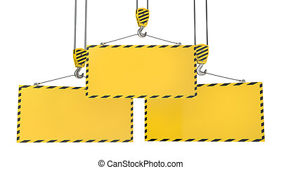 Trois, grue, crochets, vide, jaune, plaques