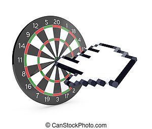 Hand cursor hits the dartboard