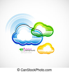 Blue technology cloud - Vector concept of techno cloud...