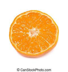 Orange mandarin with green leaf isolated on white background