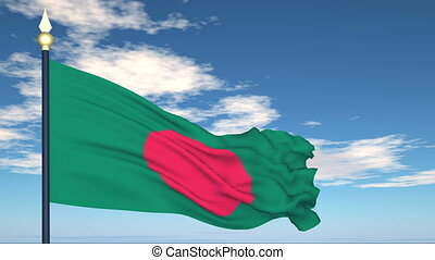 Flag Of Bangladesh on the background of the sky and flying...