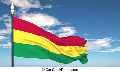 Flag Of Bolivia on the background of the sky and flying...