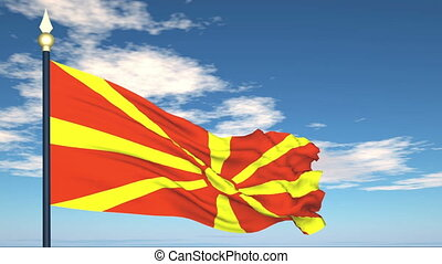 Flag Of Macedonia on the background of the sky and flying...