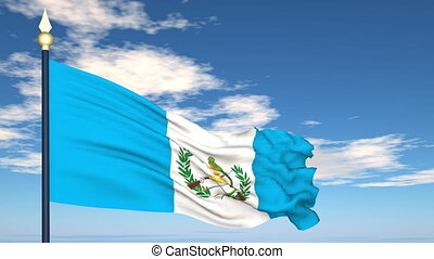 Flag Of Guatemala on the background of the sky and flying...