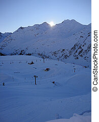 the ski slopes of st-anton in the arlberg area tyrol austria...