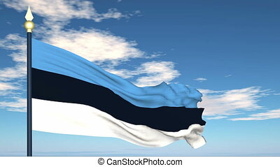 Flag Of Estonia on the background of the sky and flying...