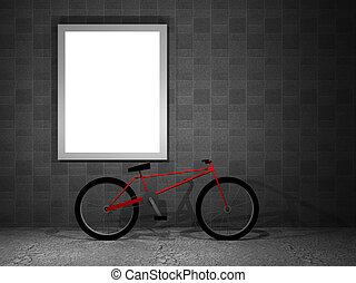 illustration of a advertising panel at night with bicycle