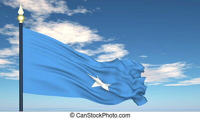 Flag Of Somalia on the background of the sky and flying...