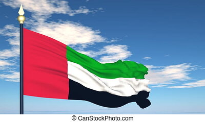 Flag Of United Arab Emirates on the background of the sky...