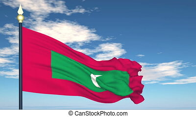 Flag Of Maldives on the background of the sky and flying...