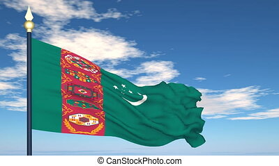 Flag Of Turkmenistan on the background of the sky and flying...